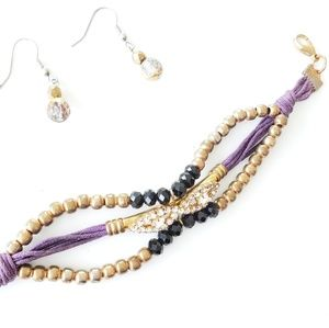 CRYSTAL LEATHER GOLD BRACELET AND EARRINGS